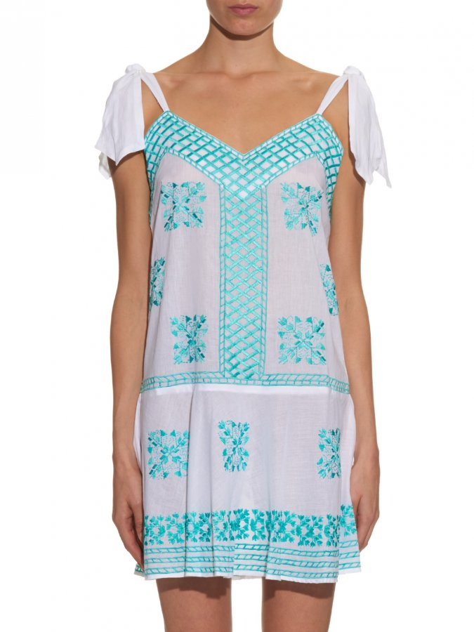 Embroidered self-tie cotton dress