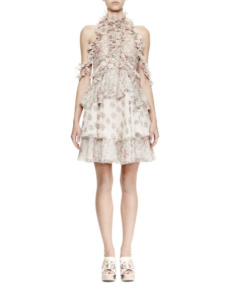Halter-Neck Layered A-Line Dress