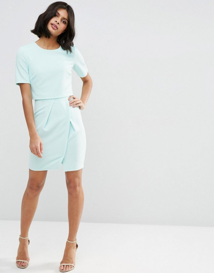 Texture Double Layer Mini Wiggle Dress