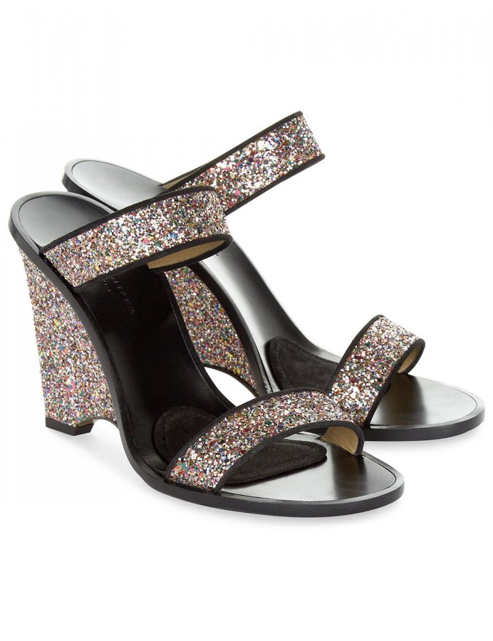 Multi Glitter Leather Wedge Heels