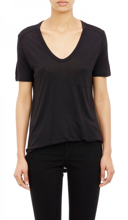 Single-Pocket V-Neck T-Shirt