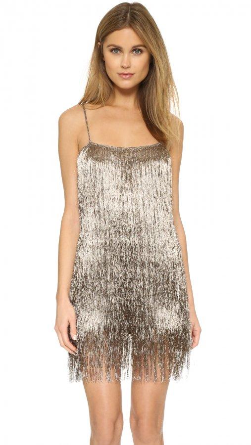 Della Fringe Metallic Mini Dress