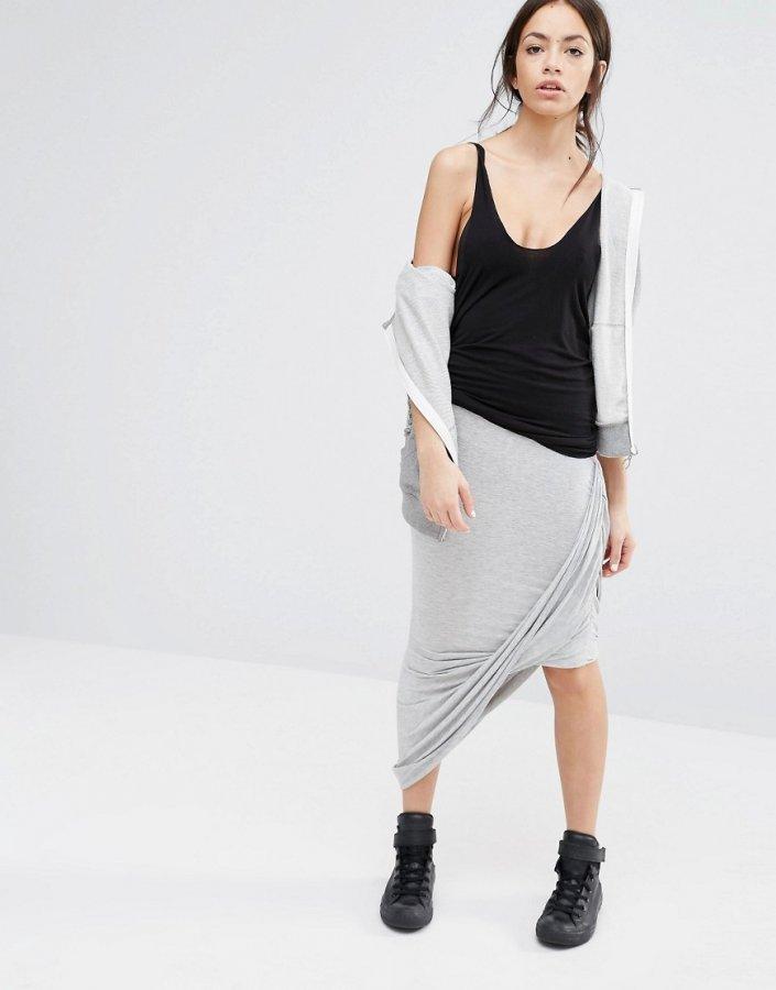 Jersey Asymmetric Wrap Front Skirt
