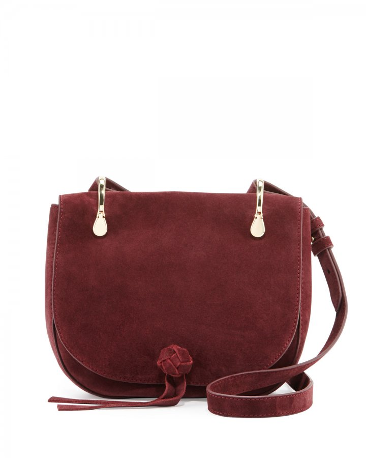 Zoe Suede Saddle Bag