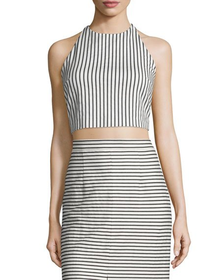 Jaymee Striped Cropped Halter Top