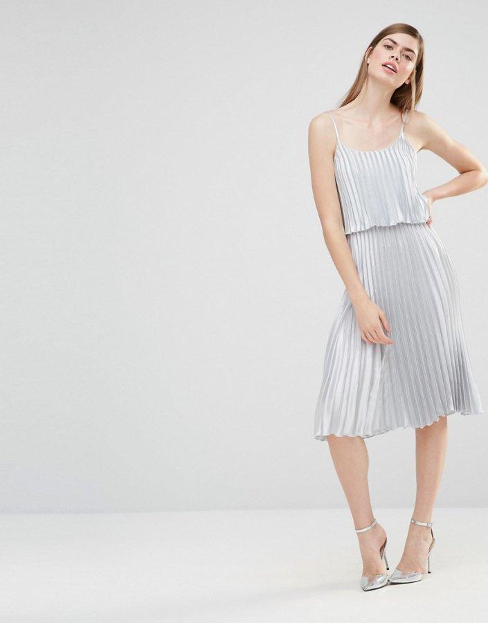 Pleated 2 in 1 Midi Dress