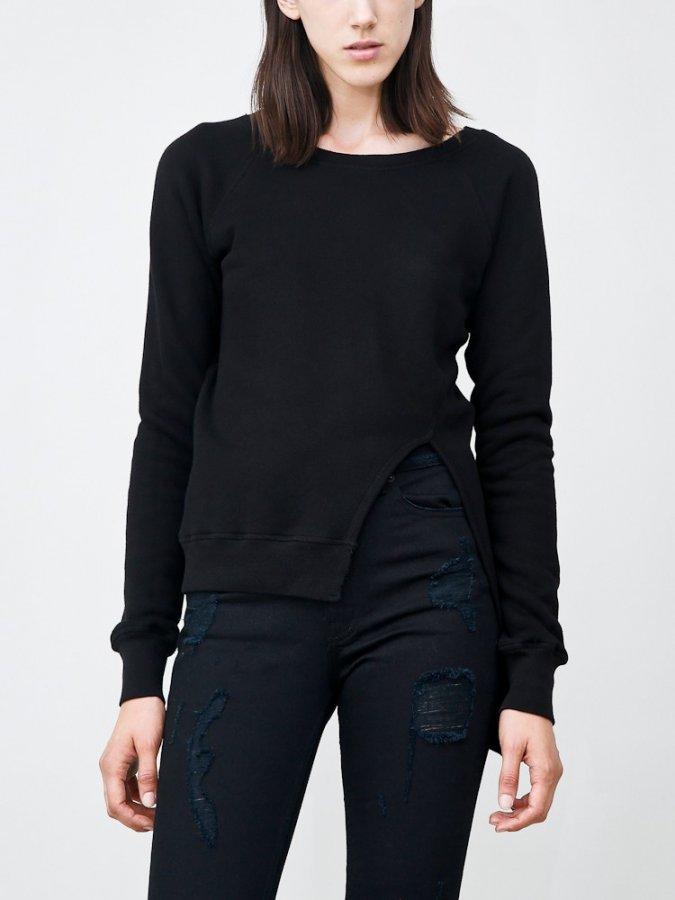 Split Front Pullover Black