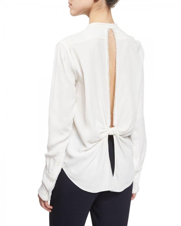 Back-Knot Frayed Crepe Top