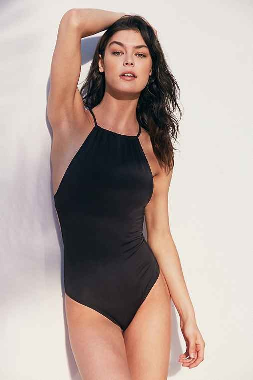 High Neck Solid One-Piece Swimsuit