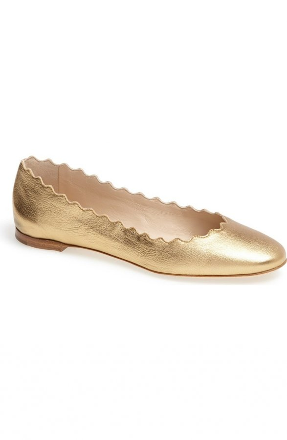 \'Lauren\' Scalloped Ballet Flat