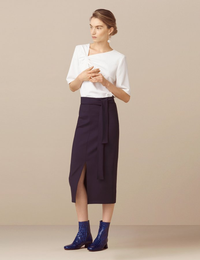 Deloraine Tie Split Front Jersey Skirt