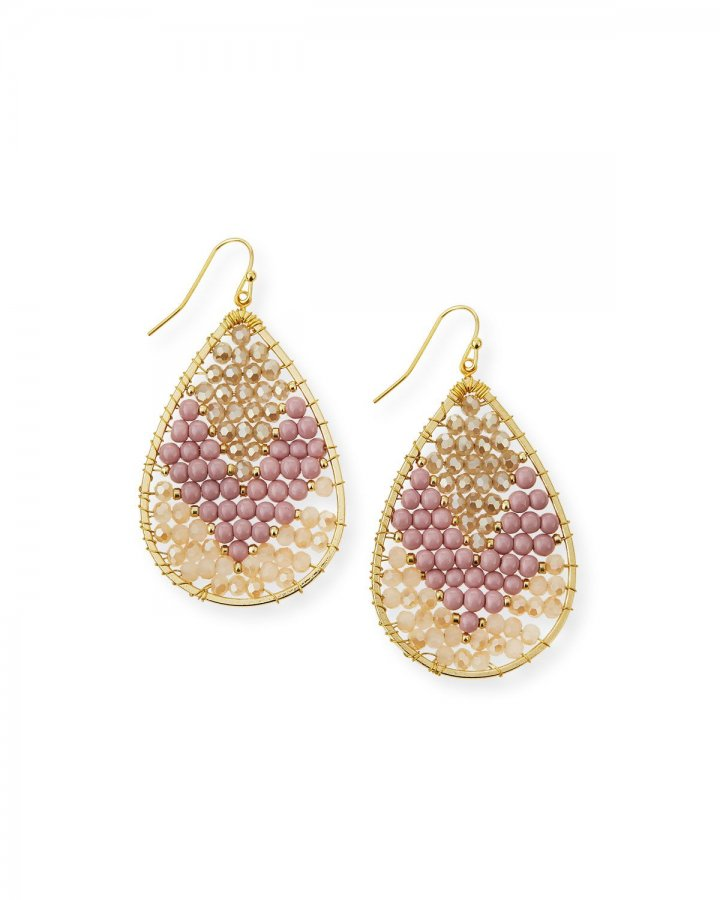 Colorblock Beaded Teardrop Earrings