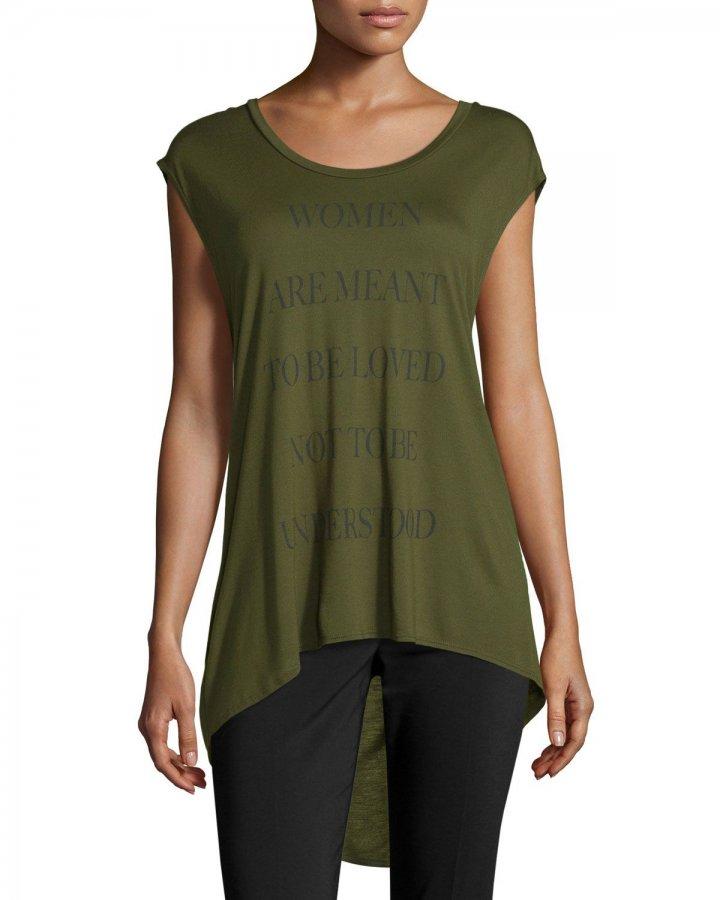 Women Graphic Text High-Low T-Shirt