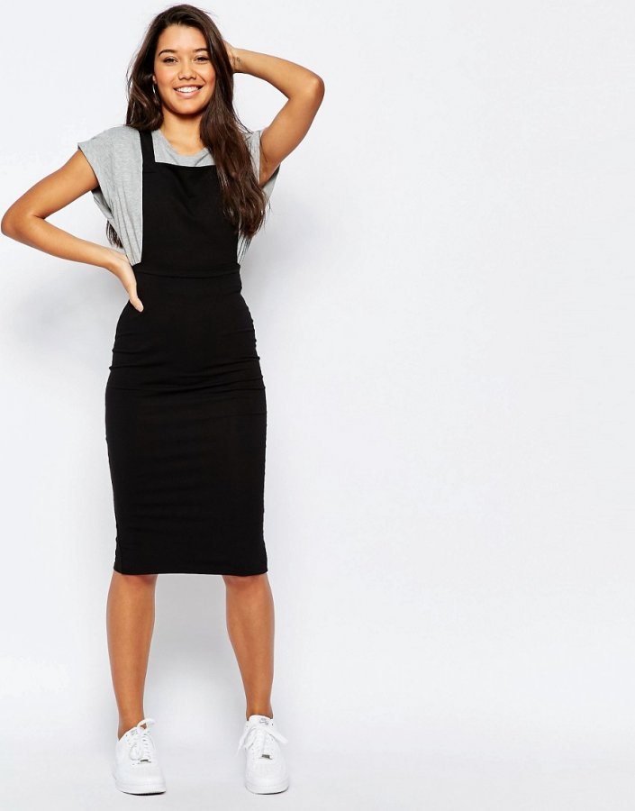 Column Pinafore Dress In Midi Length