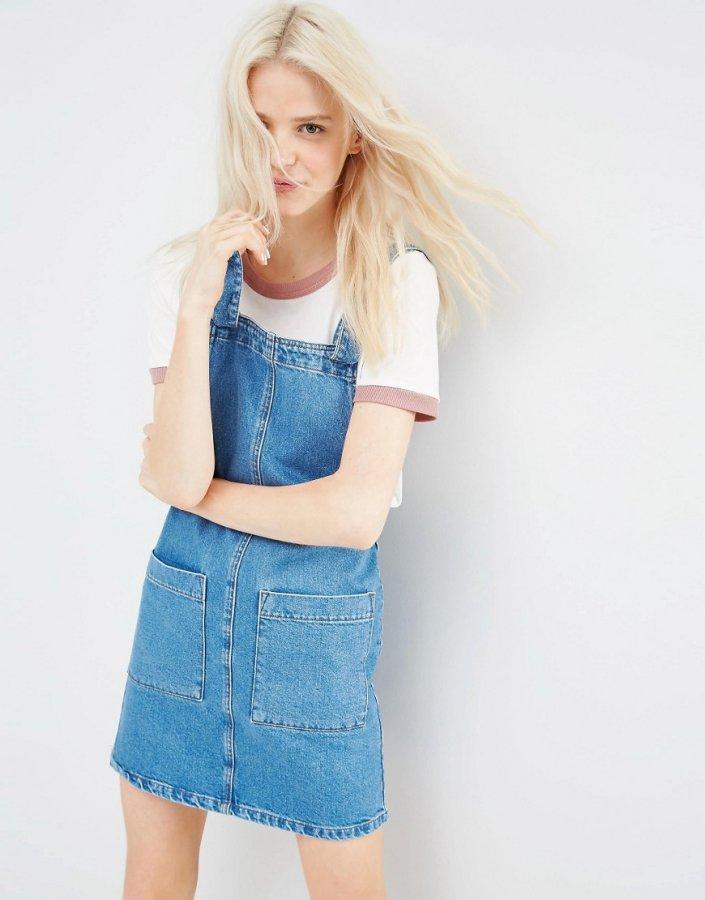 Denim Mini Pinafore Dress In Mid-Wash Blue