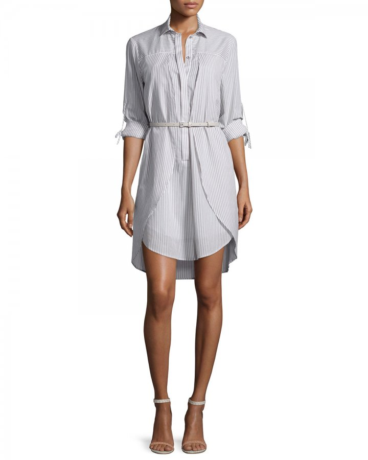 Long-Sleeve Belted Shirtdress