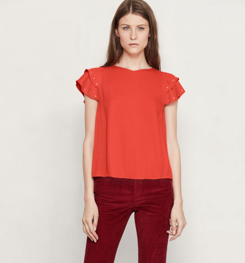 Floaty top with studded frills
