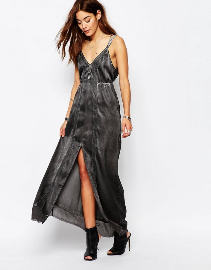 Strappy Maxi Dress With V Neck Satin Feel And Lace Detail