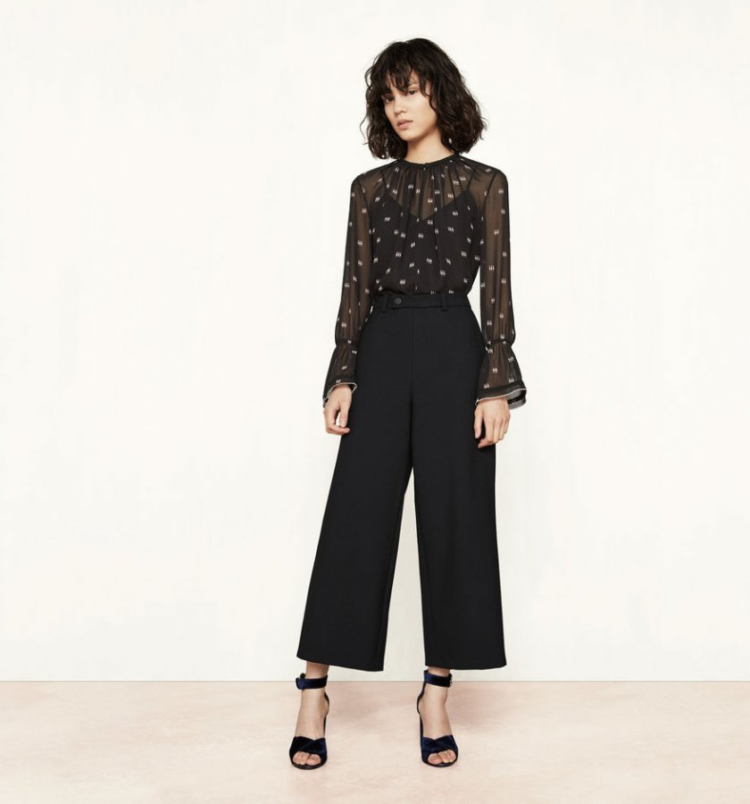Wide 7/8-length trousers
