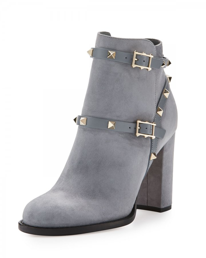 Rockstud Suede Ankle Boot