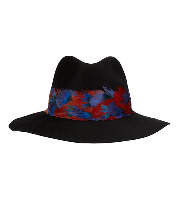 Eugenia Kim Georgina Feather Trim Fedora: Black - INTERMIX
