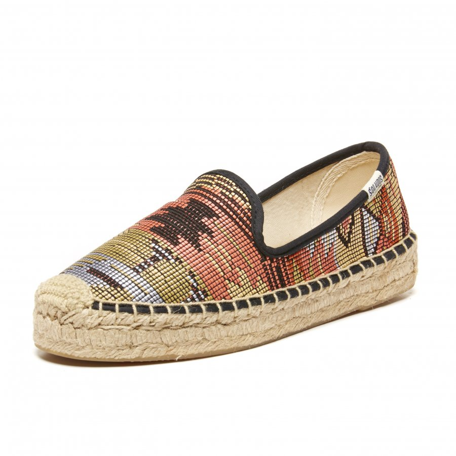 Black Multi Raffia Platform Smoking Slippers