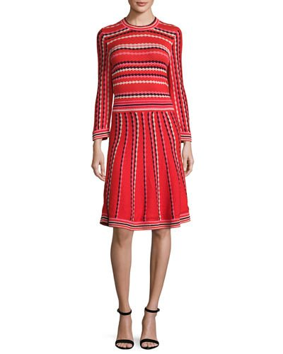 kate spade new york long-sleeve striped fit-and-flare dress