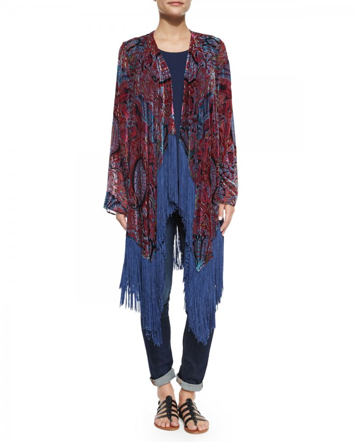 Burnout Fringe-Trim Kimono