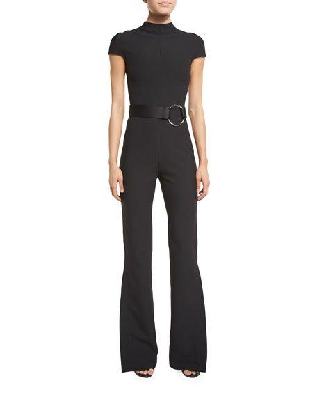 Solace London Orville Short-Sleeve Crepe Slit-Cuff Jumpsuit, Black