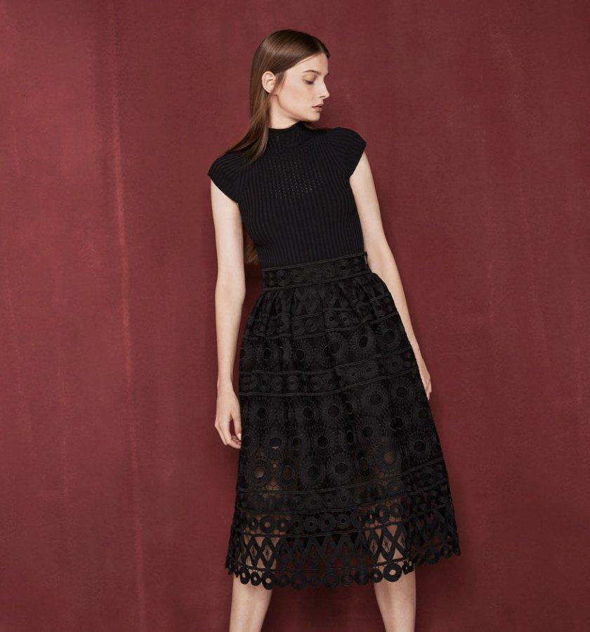 Midi bonded guipure skirt