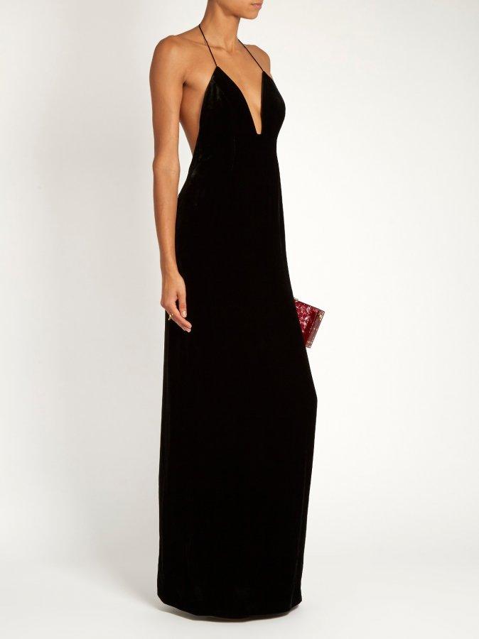 Missa velvet halterneck gown