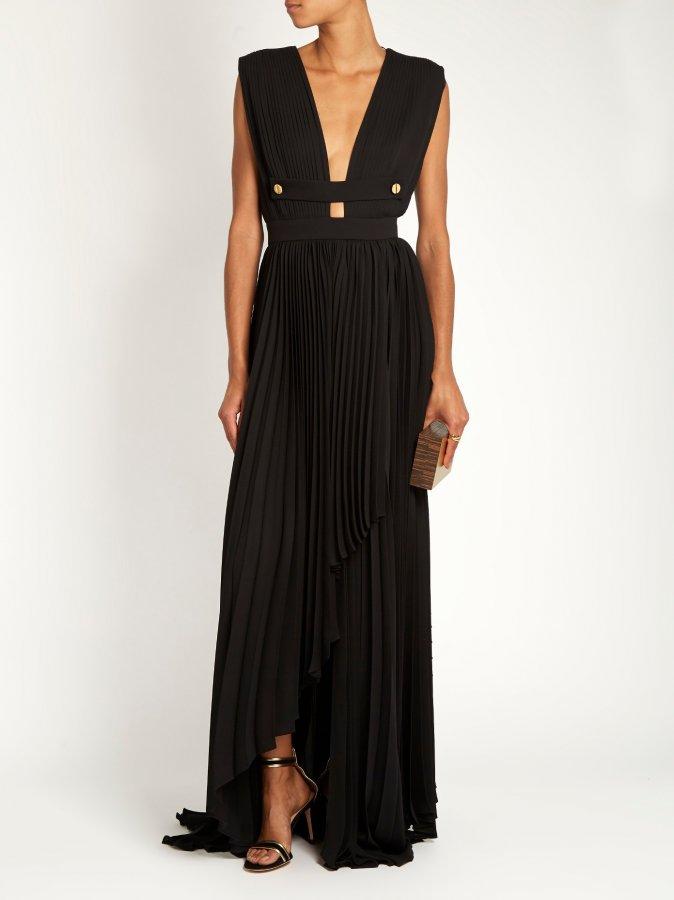 Lusti pleated-crepe gown