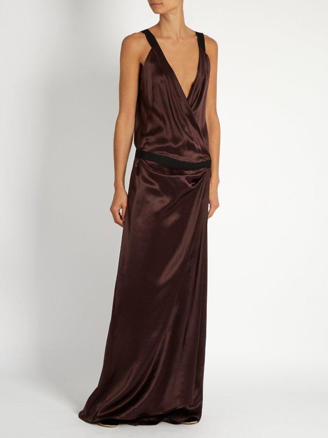 Herringbone-tape silk-satin dress