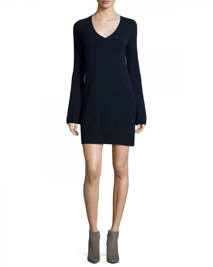 Cashmere V-Neck Bell-Sleeve Sweaterdress