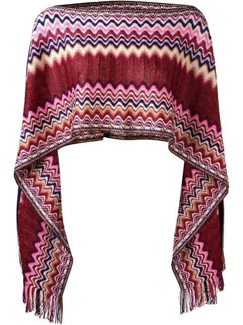 Missoni Zig-zag Pattern Knit Poncho