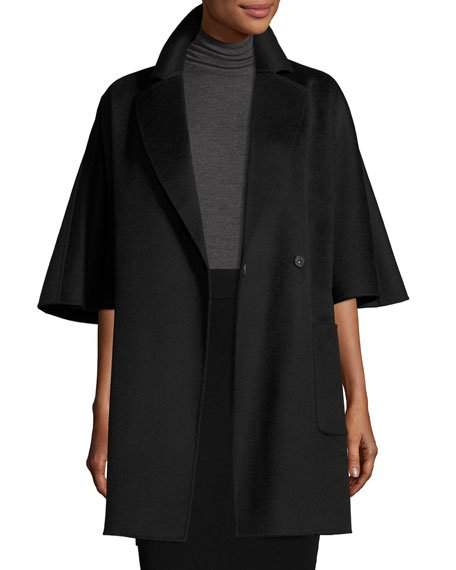 Diane von Furstenberg Oversized Half-Sleeve Wrap Coat, Black