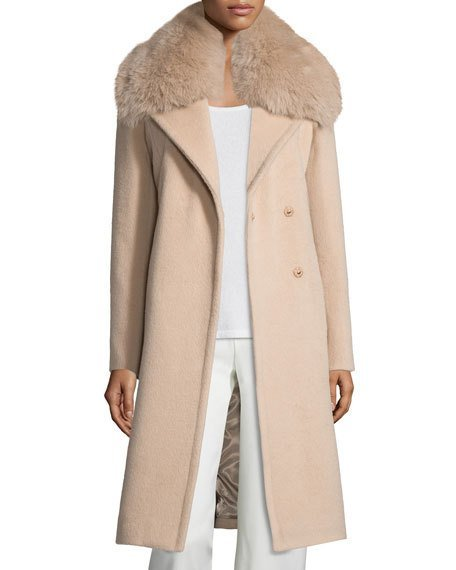 Diane von Furstenberg Long Fox-Trim Wool-Blend Peacoat, Dusty Rose