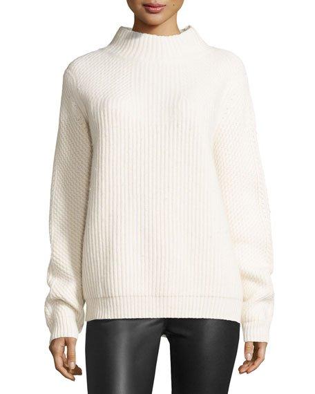 Diane von Furstenberg Jayleen Chunky Funnel-Neck Sweater, Ivory