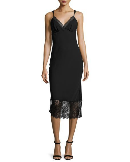 Diane von Furstenberg Margarit Lace-Trim Slip Dress, Black
