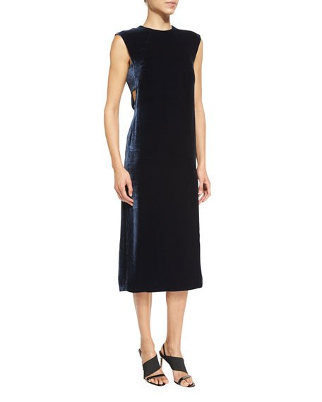 Michelle Sleeveless Velour Shift Dress, Royal