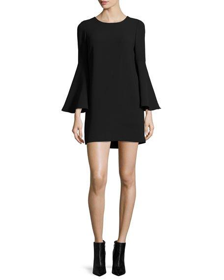 Aurora Bell-Sleeve Mini Dress, Black