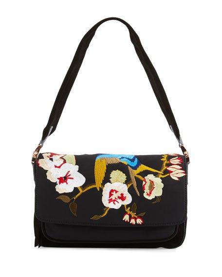 Willa Embroidered Shoulder Bag, Black