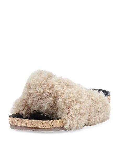 Shearling Fur Flat Slide Sandal