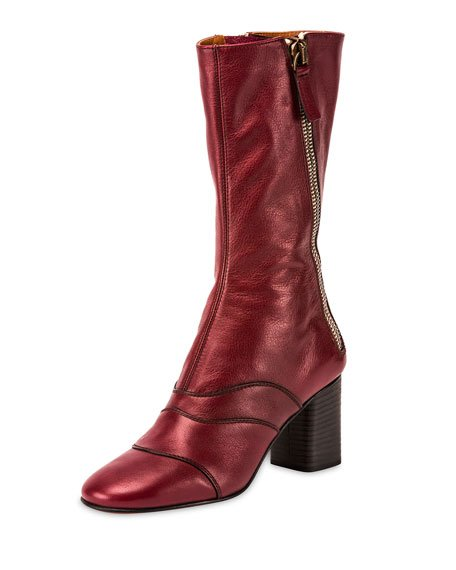 Side-Zip Leather 70mm Mid-Calf Boot