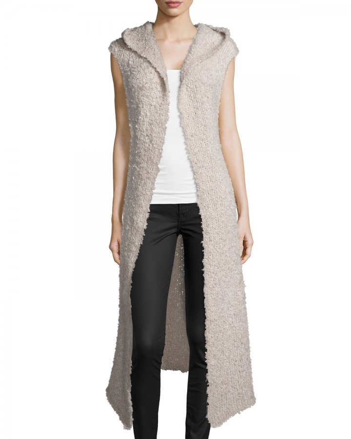 Hooded Open-Front Long Vest