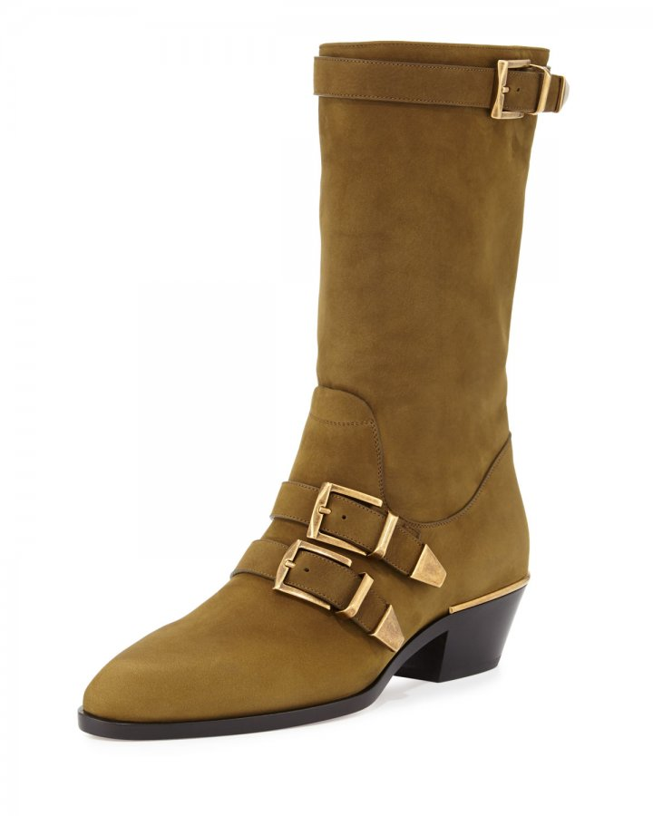 Suede Buckle Mid-Calf Boot