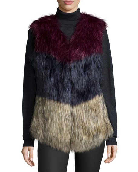 Colorblock Faux-Fur Vest