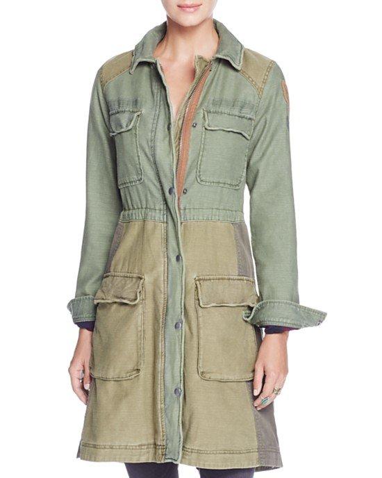 Color Block Military Coat