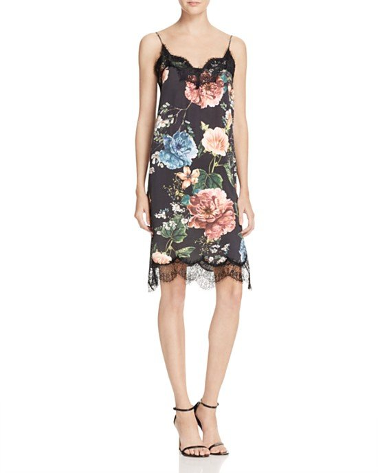 Lace Trim Floral Print Slip Dress