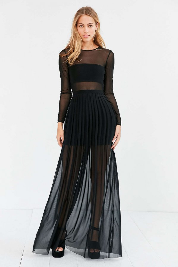 Katerina Pleated Mesh Maxi Dress